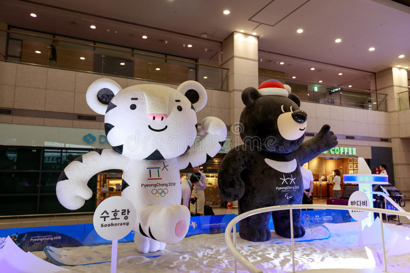 Mascots of the Winter Olympic Games 2018 in Pyeongchang - a whit royalty free stock photos