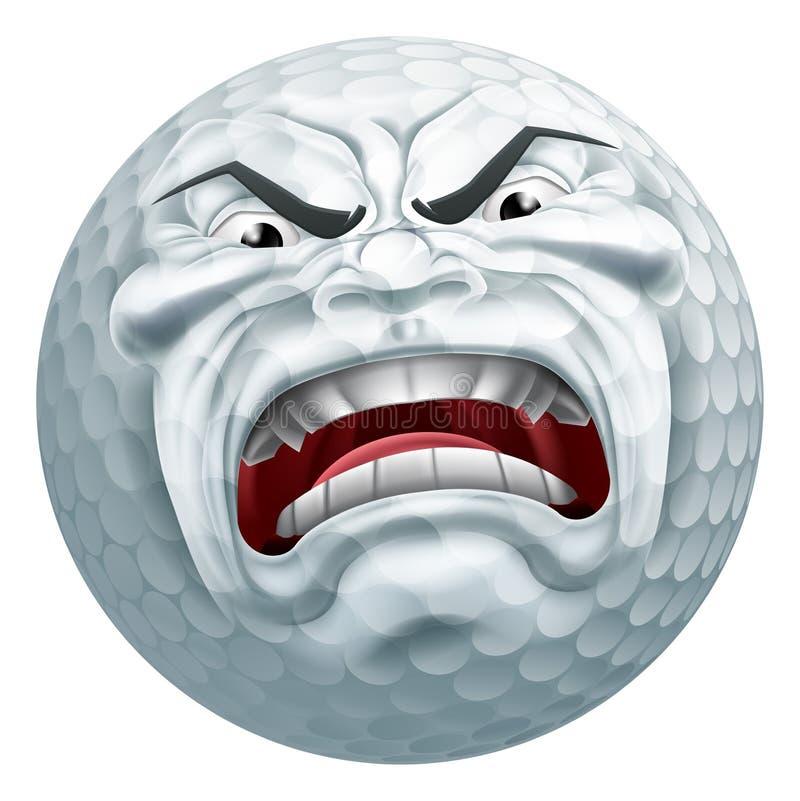 Mascotte arrabbiata del fumetto di sport della palla da golf illustrazione vettoriale