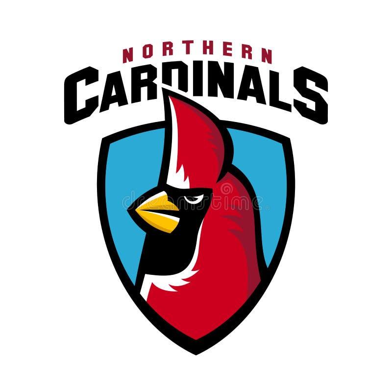 Mascotte arrabbiata dello schermo del gruppo dell'uccello di logo cardinale nordico di sport illustrazione di stock