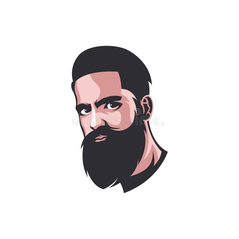Mascotte barbuta Logo Template For Barber Shop dell'uomo royalty illustrazione gratis