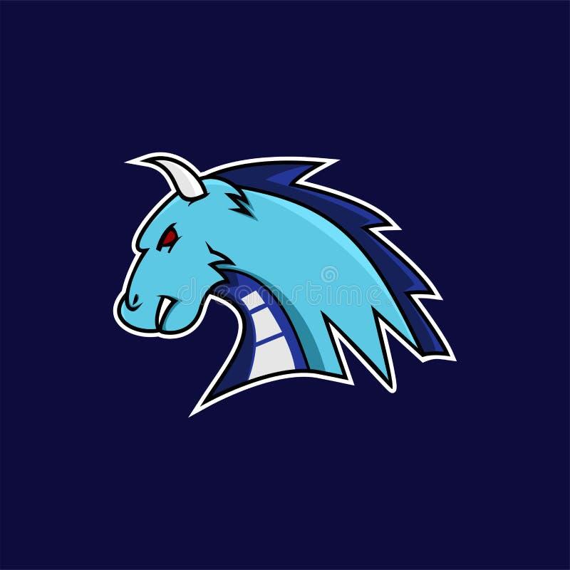 Mascotte bleue de dragon ou logo d'e-sports illustration stock