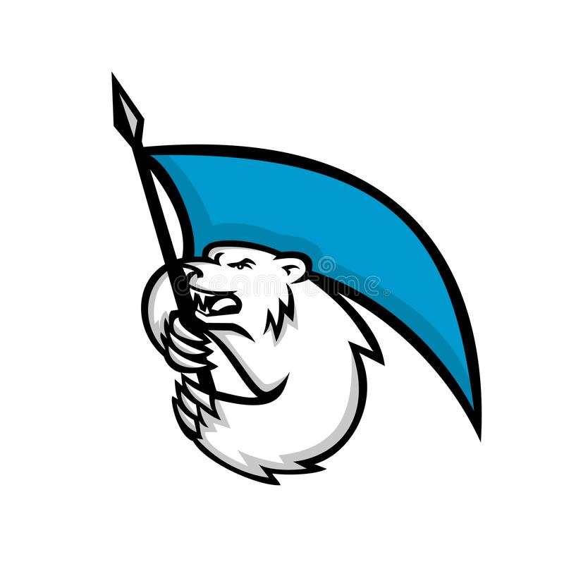 Mascotte brandissante fâchée de drapeau d'ours blanc illustration de vecteur