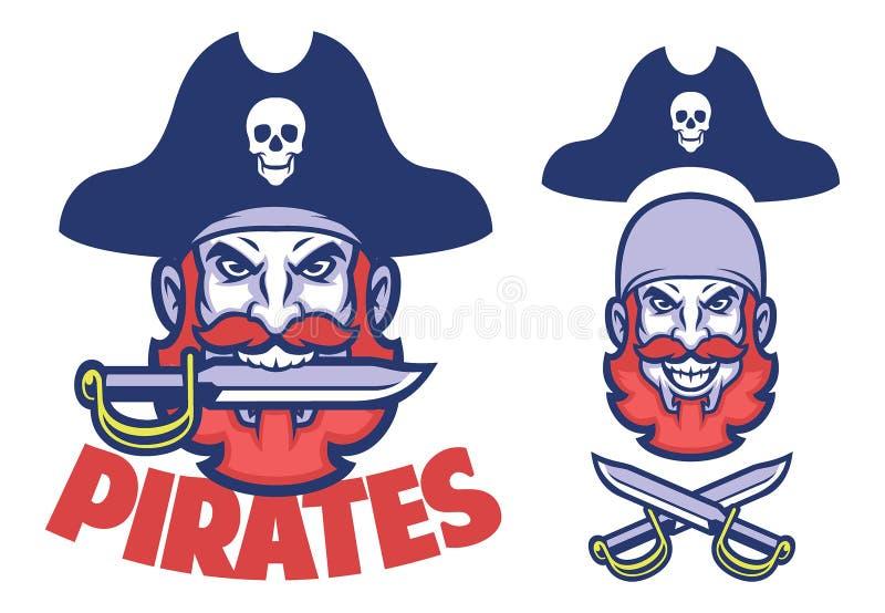 Mascotte capa del pirata illustrazione vettoriale