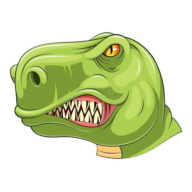 Mascotte capa di tirannosauro verde illustrazione vettoriale