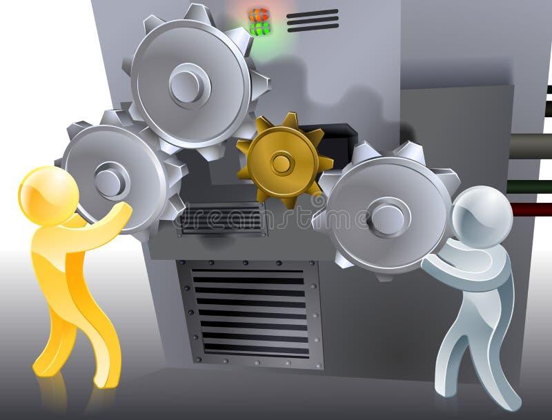 Mascotte che mettono macchina illustrazione vettoriale