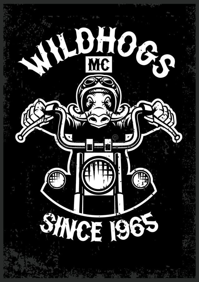 Mascotte d'annata del club del motociclo del wildhog nello stile di struttura di lerciume illustrazione di stock
