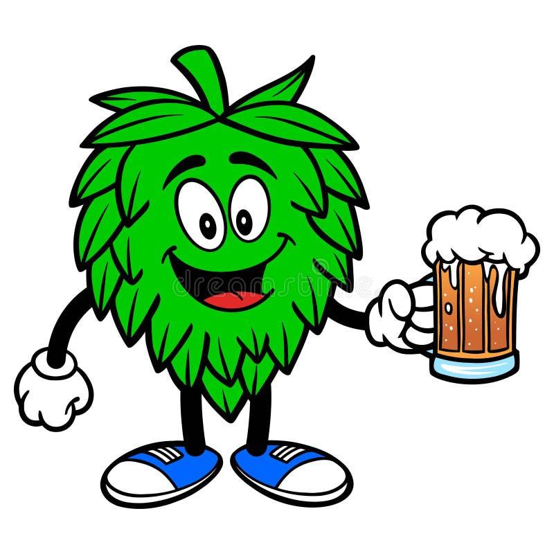 Mascotte d'houblon avec de la bière illustration libre de droits