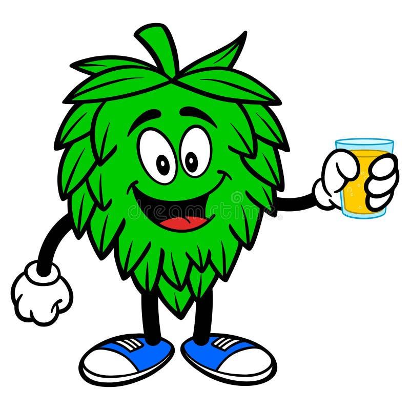 Mascotte d'houblon avec la tasse de bière illustration de vecteur