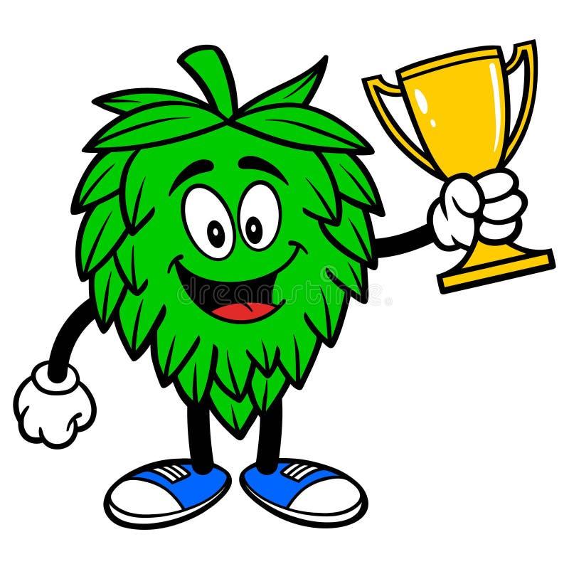 Mascotte d'houblon avec un trophée illustration libre de droits