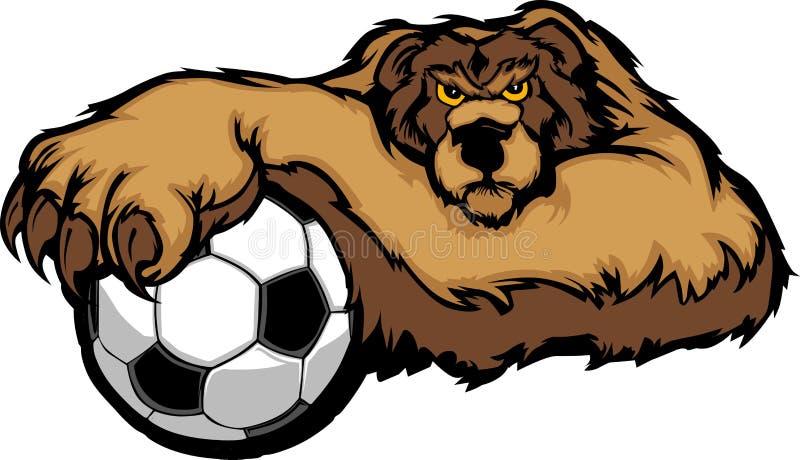 Mascotte d'ours avec l'illustration de bille de football illustration stock