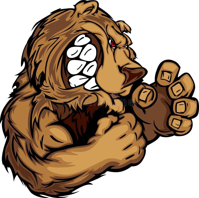 Mascotte d'ours avec l'image de dessin de mains de combat illustration stock