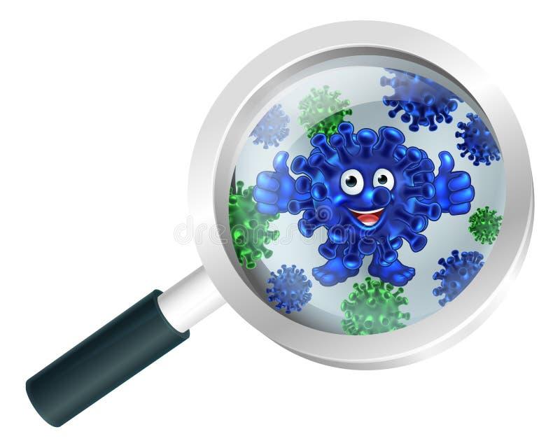 Mascotte de bande dessinée de bactéries sous la loupe illustration de vecteur