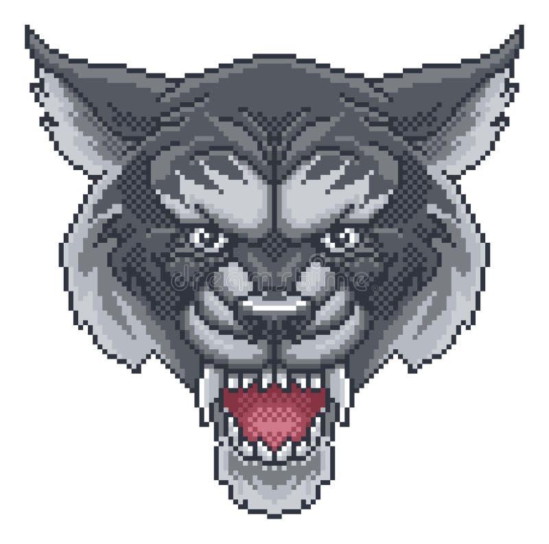 Mascotte de bande dessinée de Wolf Pixel Art Arcade Game illustration de vecteur