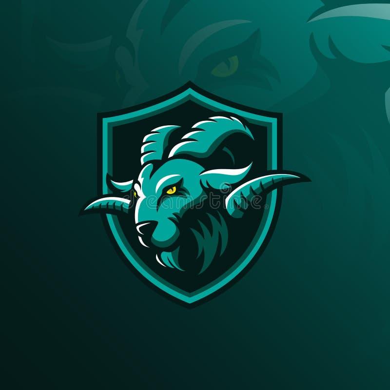 Mascotte de conception de logo de vecteur de chèvre avec le style moderne de concept d'illustration pour l'impression d'insigne,  illustration libre de droits