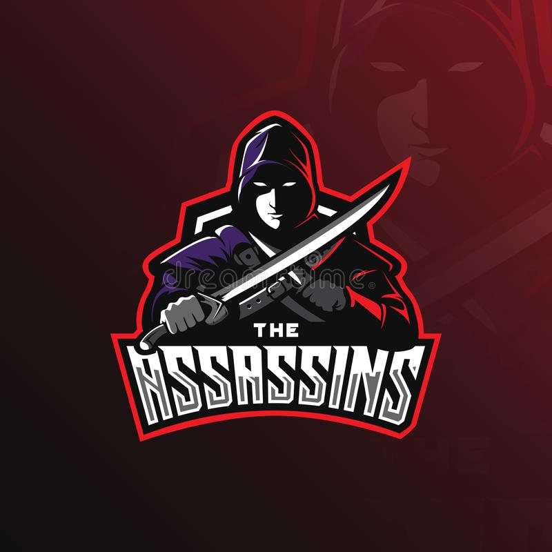 Mascotte de conception de logo de vecteur d'assassin avec le style moderne de concept d'illustration pour l'impression d'insigne, illustration libre de droits