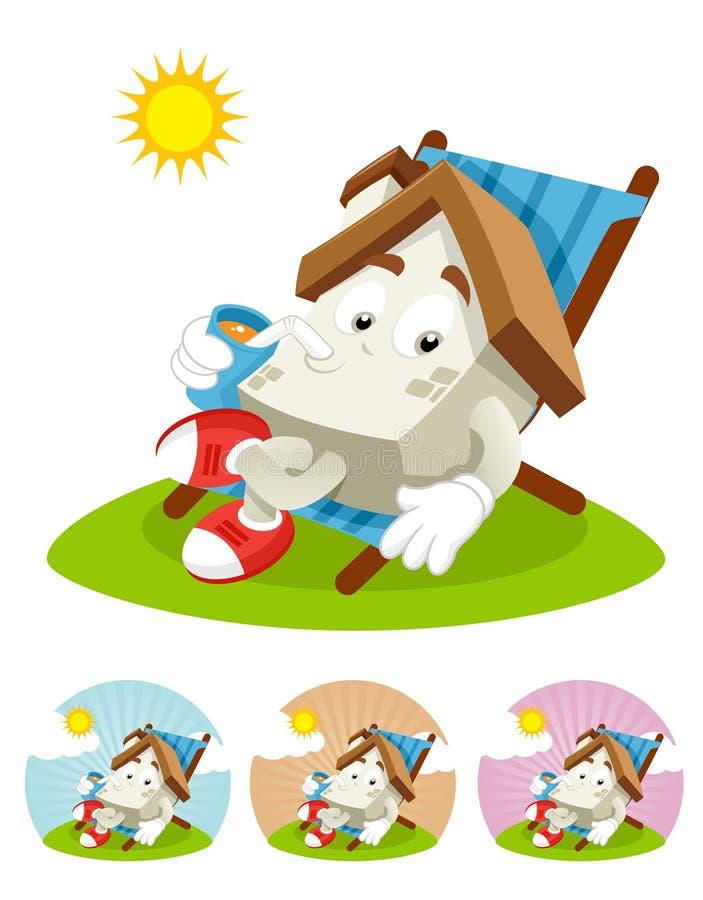 Mascotte de dessin animé de Chambre - exposant au soleil photos libres de droits