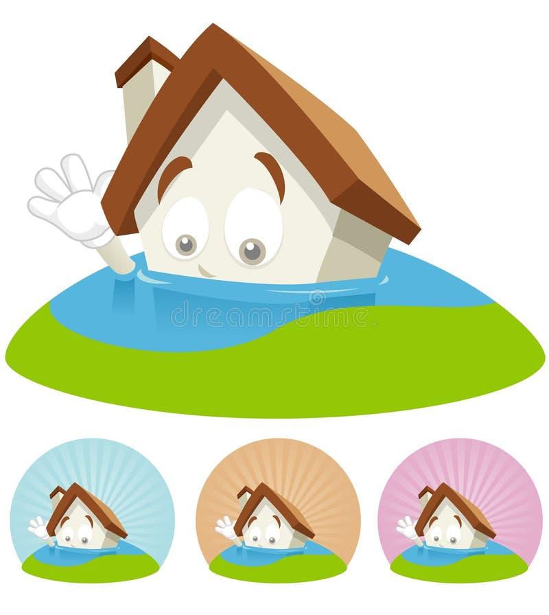 Mascotte de dessin animé de Chambre - inondation images stock