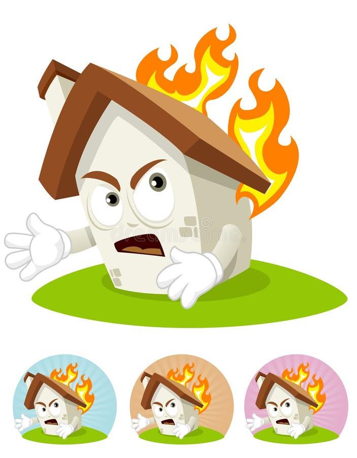 Mascotte de dessin animé de Chambre - sur l'incendie photos libres de droits