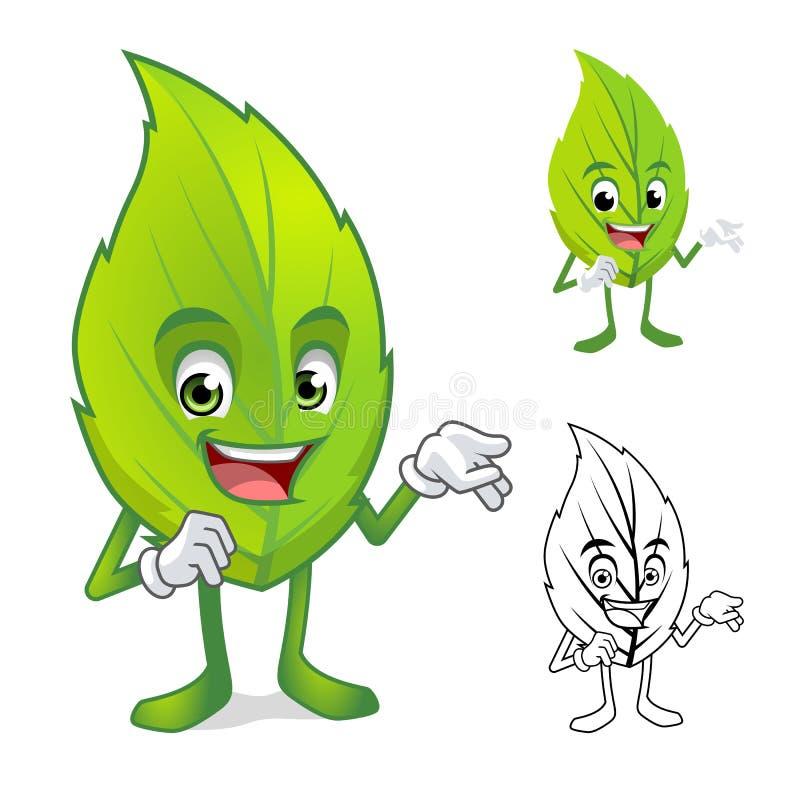 Mascotte de feuille avec le personnage de dessin animé actuel de main illustration stock