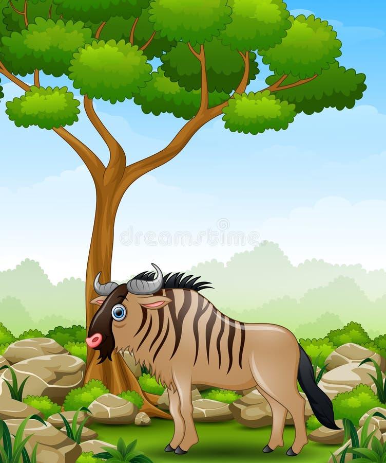 Mascotte de gnou de bande dessinée dans la jungle illustration de vecteur