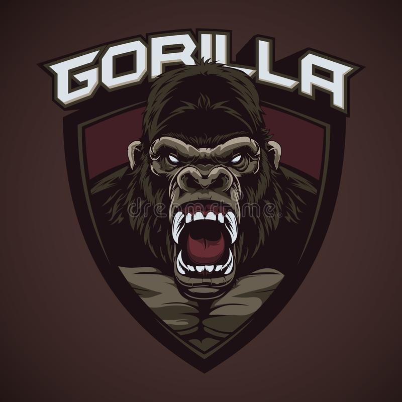 Mascotte de gorilles de cri perçant illustration de vecteur