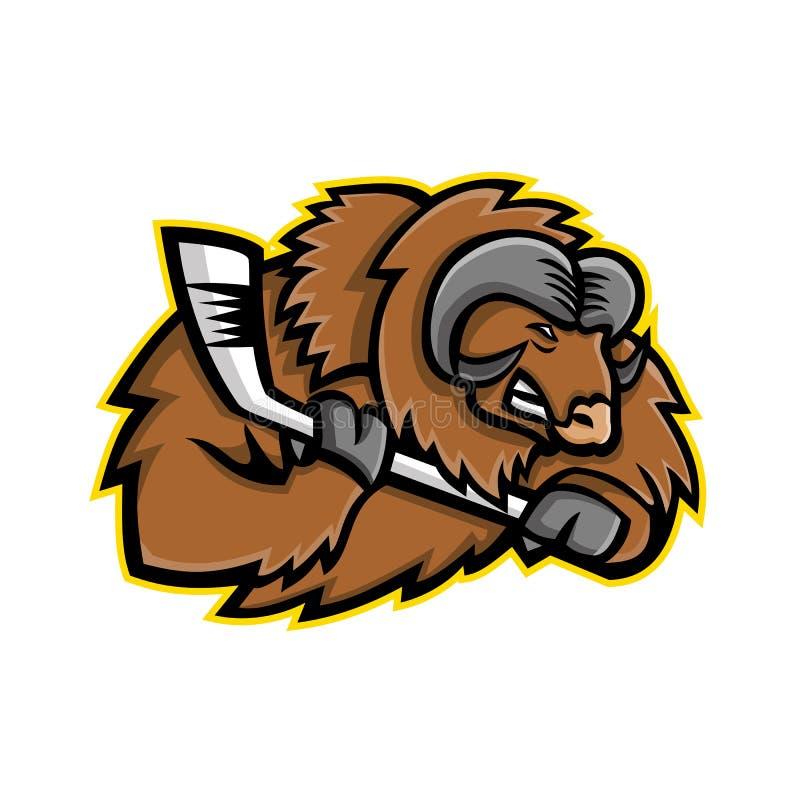 Mascotte de hockey sur glace de boeuf de musc illustration de vecteur