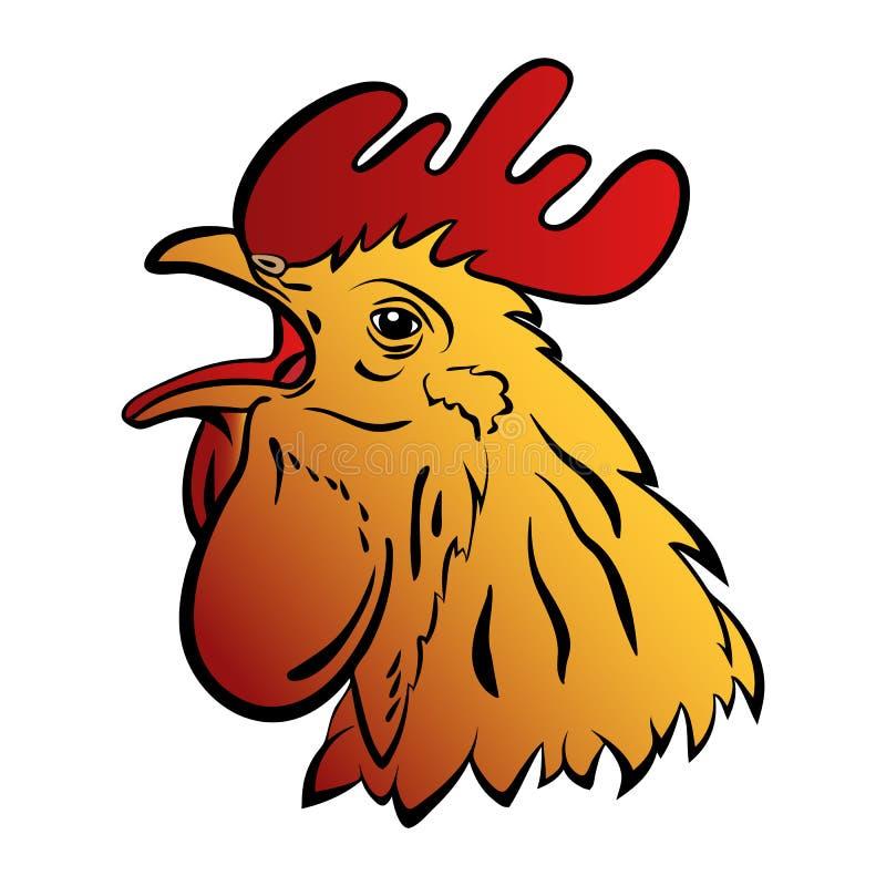 Mascotte de logo de coq Illustration d'isolement de vecteur de tête de coq illustration stock