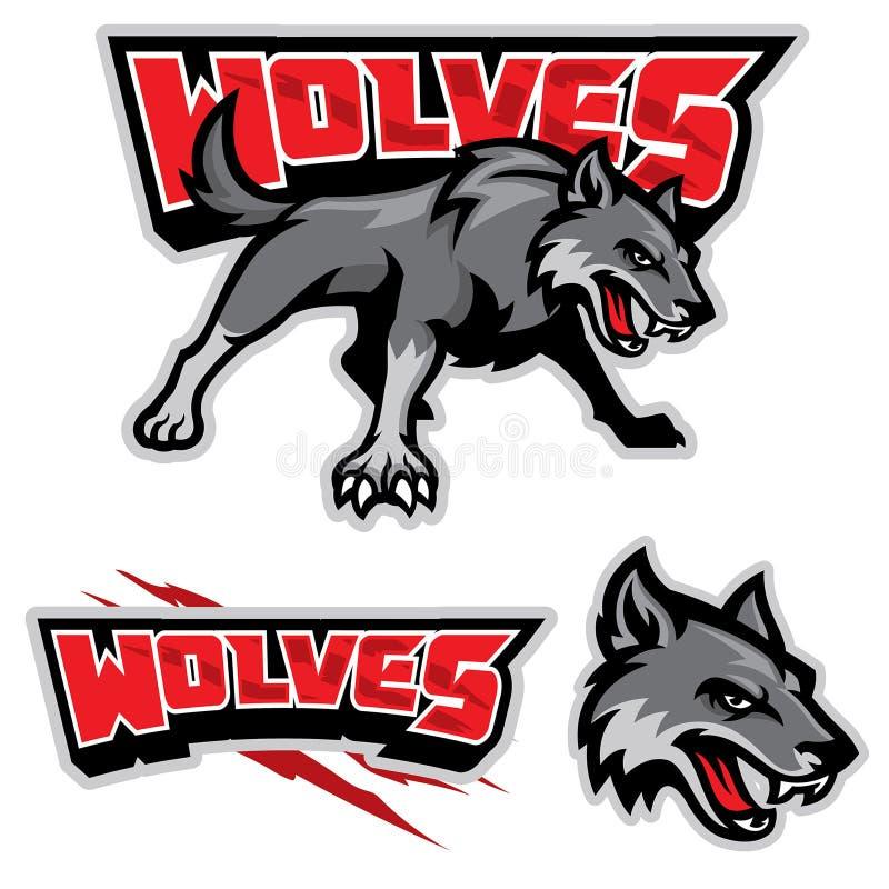 Mascotte de loup gris illustration stock