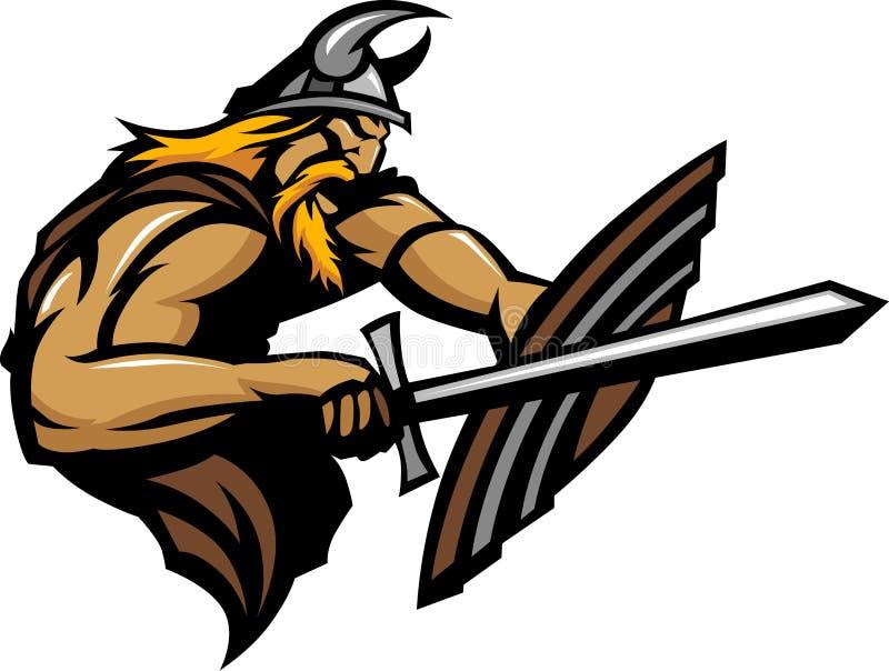 Mascotte de Norseman de Viking poignardant avec l'épée et le Shi illustration libre de droits