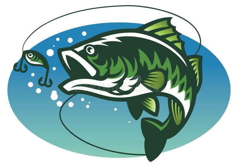 Mascotte de poissons de basse de large ouverture illustration stock
