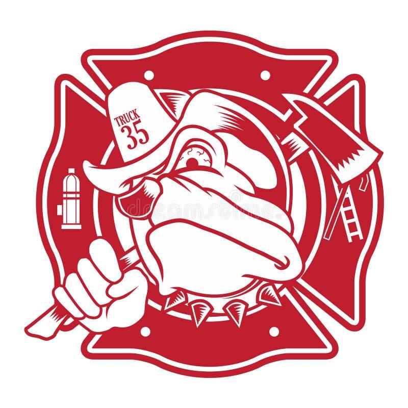 Mascotte de pompier de bouledogue illustration stock