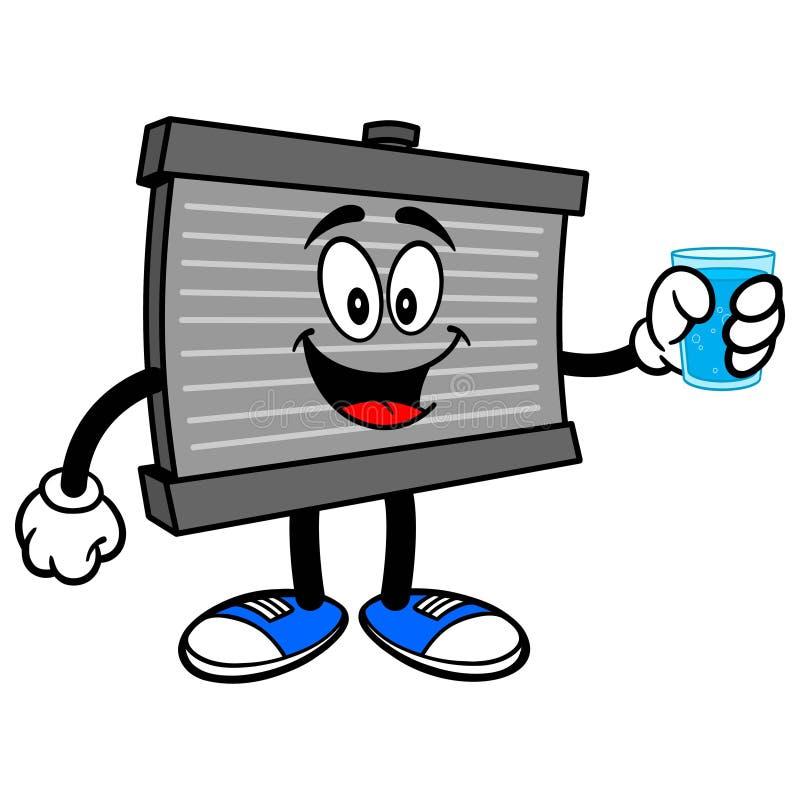 Mascotte de radiateur avec de l'eau illustration libre de droits