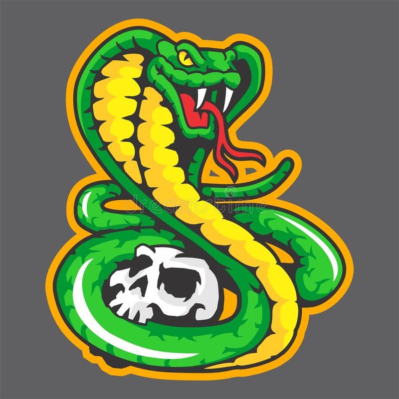 Mascotte de serpent vert illustration de vecteur