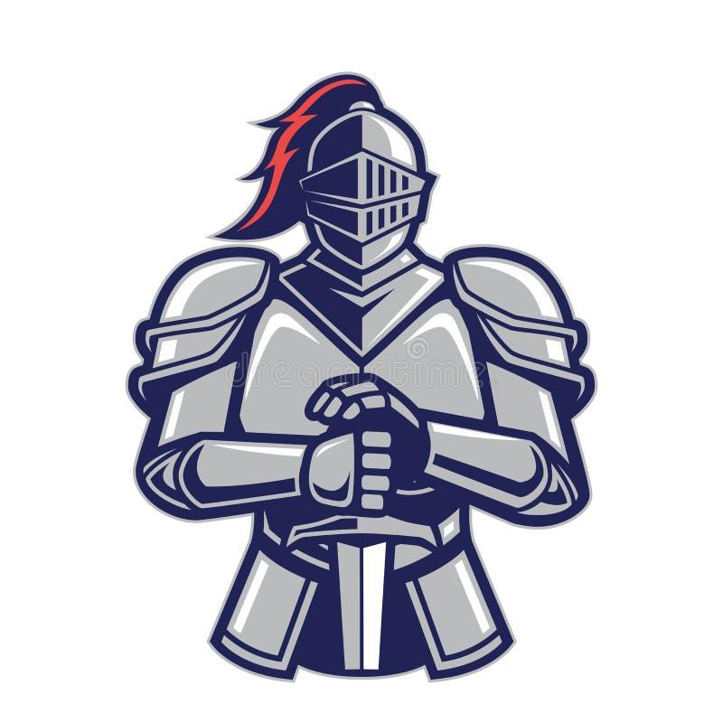 Mascotte del cavaliere del guerriero illustrazione di stock