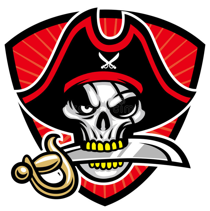 Mascotte del cranio del pirata royalty illustrazione gratis