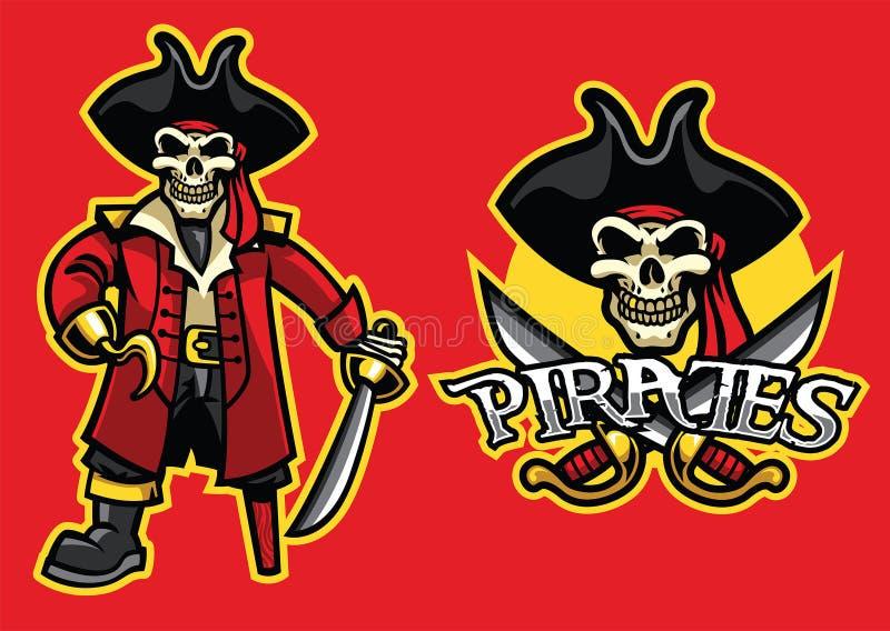 Mascotte del cranio del pirata nell'insieme illustrazione di stock
