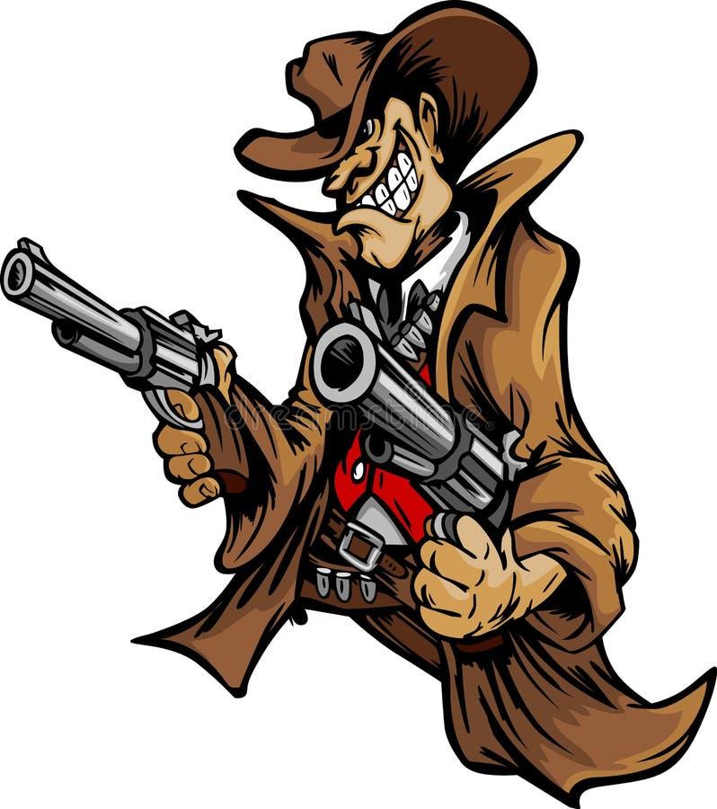 Mascotte del fumetto del cowboy che mira le pistole illustrazione vettoriale