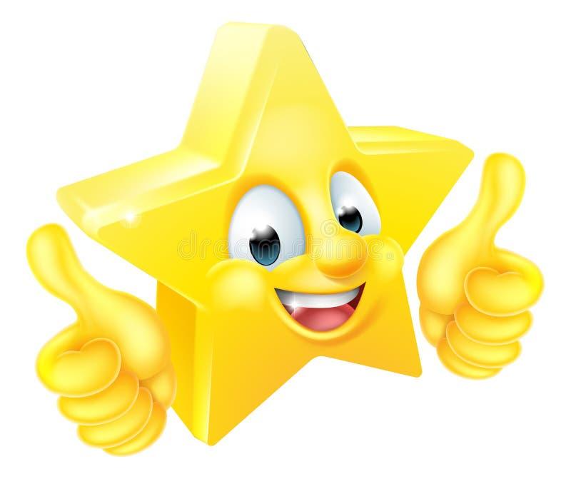 Mascotte del fumetto della stella che dà i pollici su illustrazione di stock