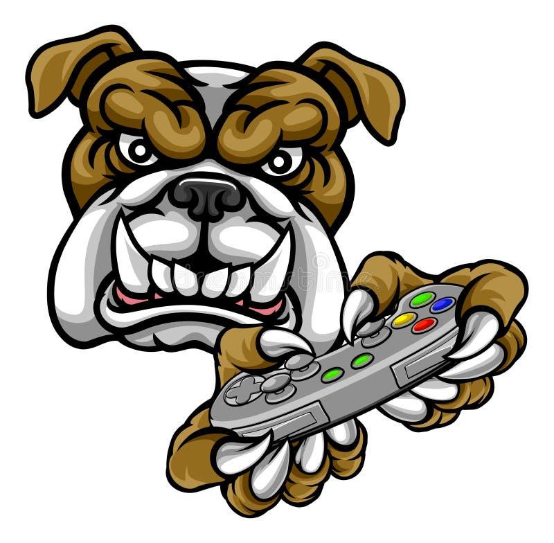 Mascotte del Gamer di Esports del bulldog illustrazione di stock