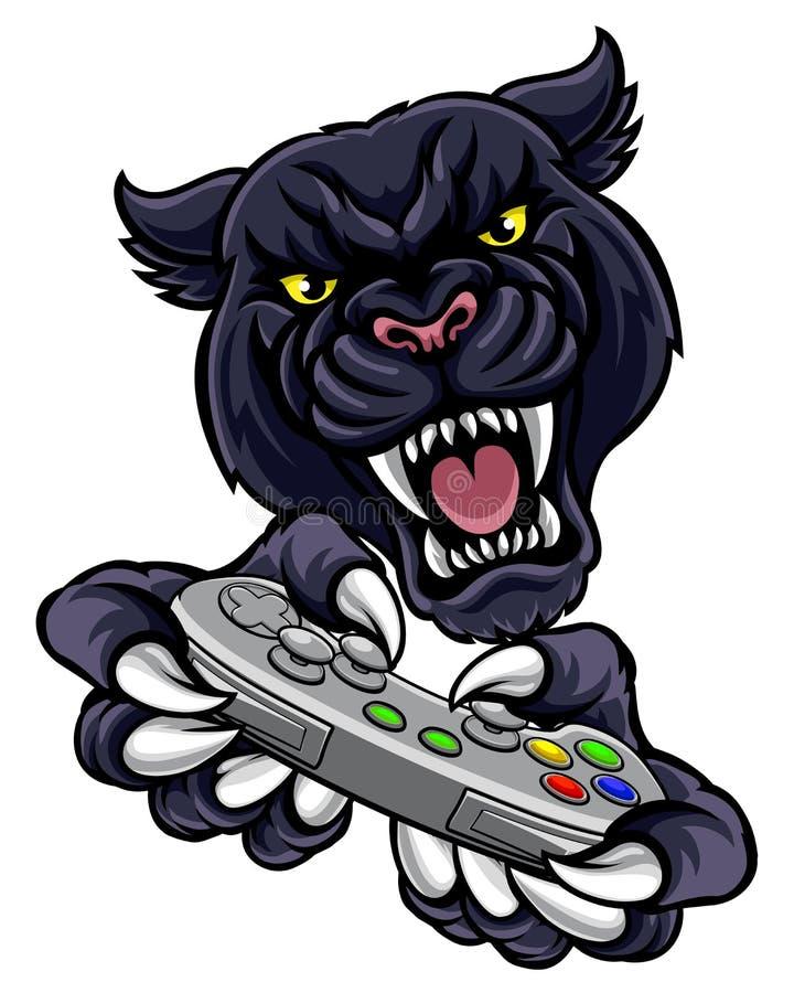 Mascotte del giocatore del Gamer della pantera nera illustrazione vettoriale