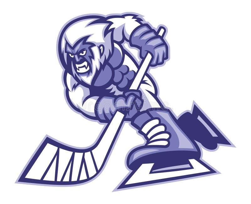 Mascotte del hockey su ghiaccio degli yeti illustrazione vettoriale