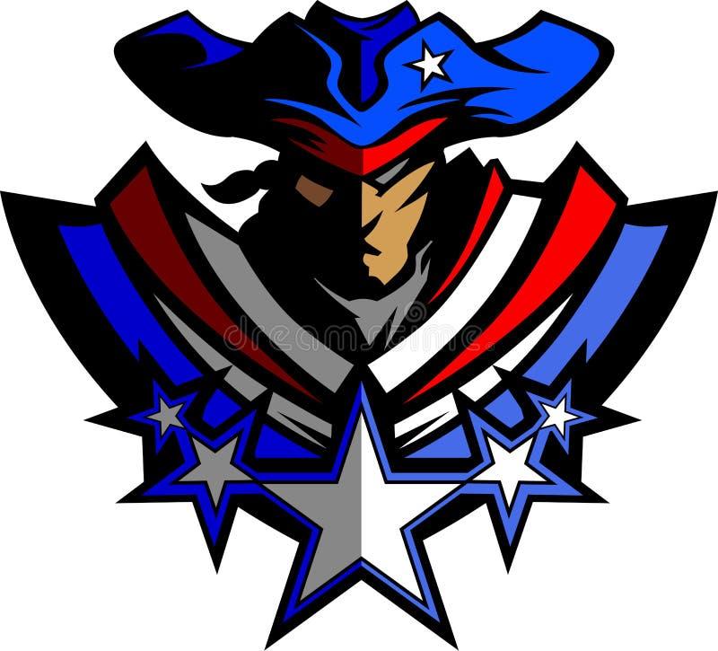 Mascotte del patriota con le stelle ed il grafico I del cappello illustrazione vettoriale