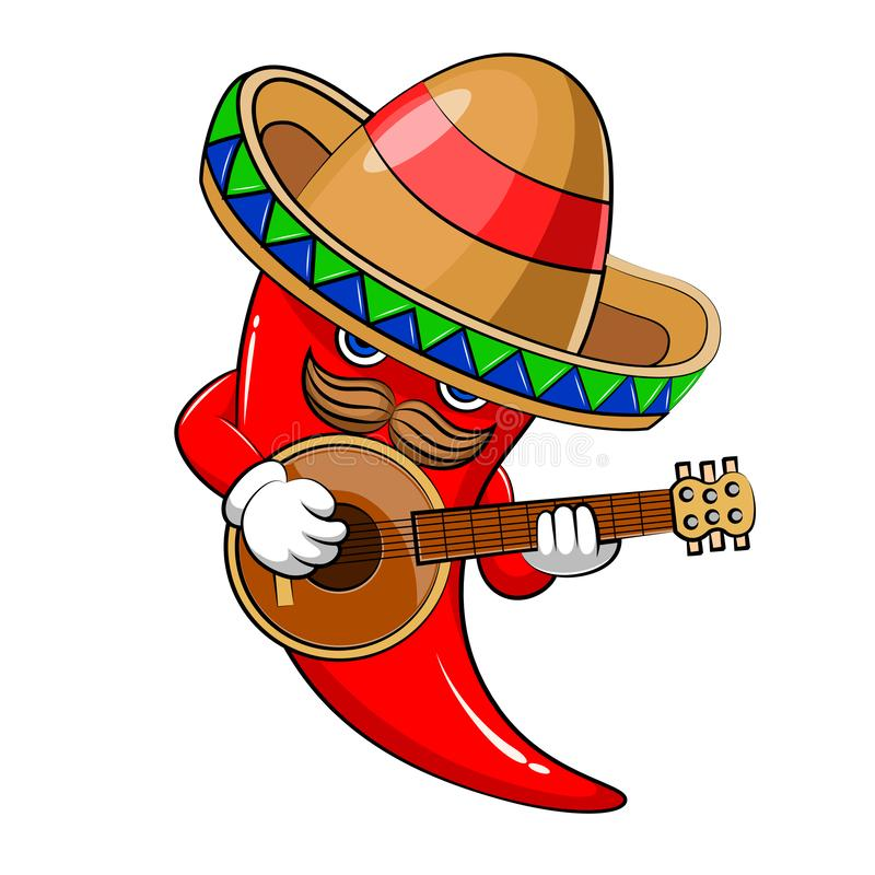 Mascotte del peperoncino rosso caldo del sombrero illustrazione di stock