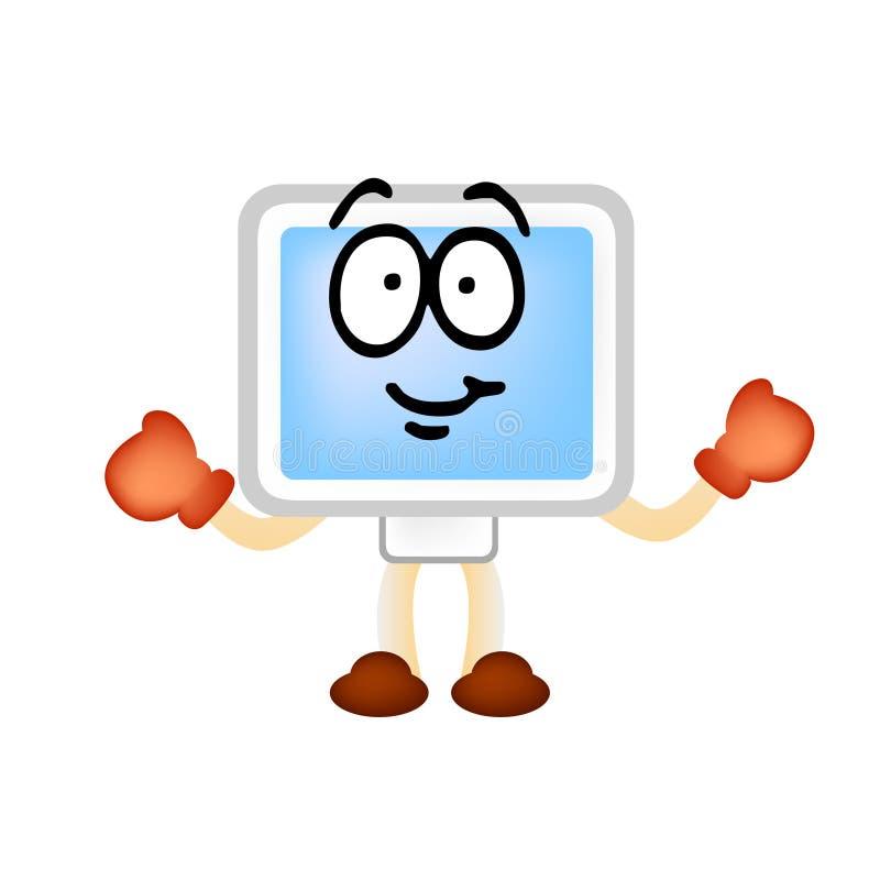 Mascotte del vector del hombre de ordenador stock de ilustración
