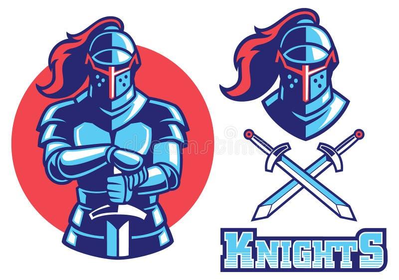 Mascotte dell'armatura del cavaliere illustrazione vettoriale