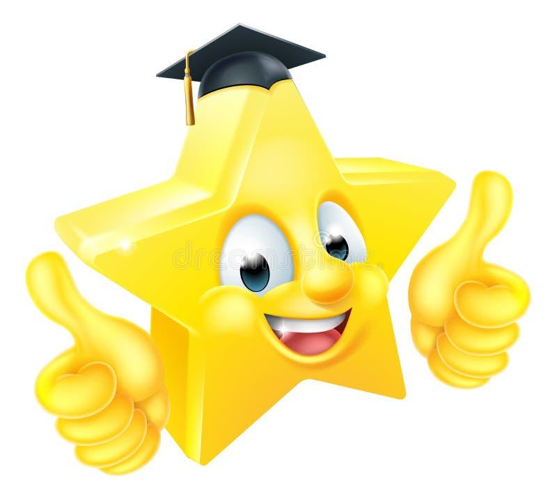 Mascotte dell'emoticon di Emoji di graduazione della stella illustrazione vettoriale