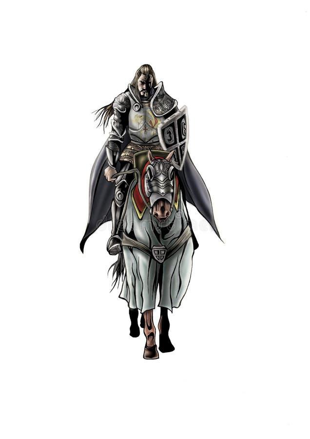 Mascotte dell'illustrazione di alta qualità del cavaliere, copertura, fondo, carta da parati illustrazione di stock