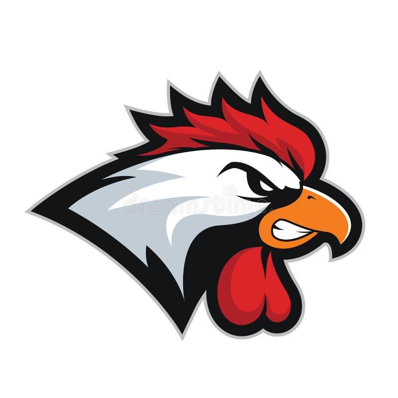 Mascotte 2 della testa del gallo del pollo illustrazione vettoriale