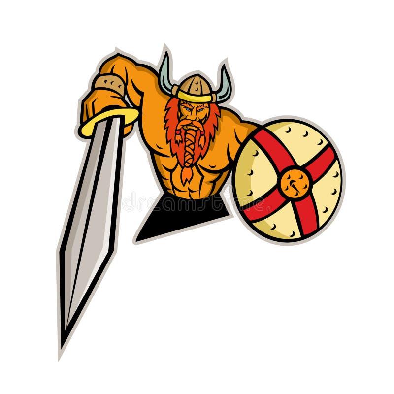 Mascotte dello schermo e di Viking Warrior Sword immagine stock libera da diritti