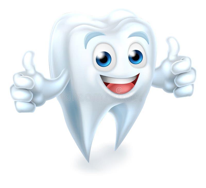 Mascotte dentaire de dent renonçant à des pouces illustration de vecteur